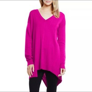 Vince Camuto Tunic Sweater Pullover Pink V Neck XL